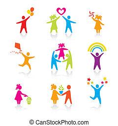 komplet, sylwetka, ludzie, koźlę, człowiek, ikony, -, symbol., chłopiec, kobieta, dziewczyna, rodzice, ojciec, vector., family., macierz, dziecko