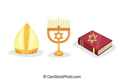 komplet, symbolika, żydowski, chrześcijanin, wektor, zakon, różny