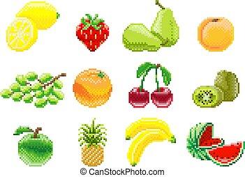 komplet, sztuka, gra, owoc, video, 8, kawałek, pixel, ikona