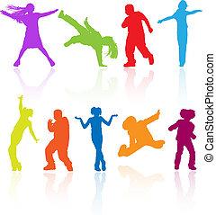 komplet, taniec, barwny, odbicie., nastolatki, skokowy, sylwetka, wektor, przedstawianie