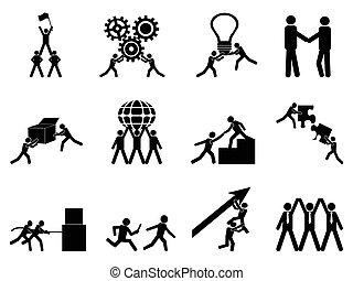 komplet, teamwork, ikony
