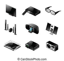komplet, telewizja, -, elektronika, dźwiękowy, ikona
