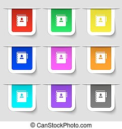 komplet, twój, poznaczcie., etykiety, nowoczesny, wielobarwny, telefon, wektor, adres, notatnik, ikona, książka, design.