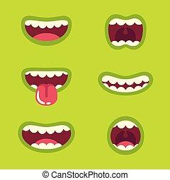 komplet, usta, potwór