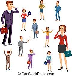 komplet, vector., biuro, team., litery, design., człowiek, kobiety
