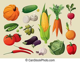 komplet, vegetables., zachwycający