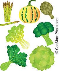 komplet, warzywa, odizolowany, ilustracja, 2, tło, biały