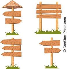 komplet, wektor, drewniany, znaki