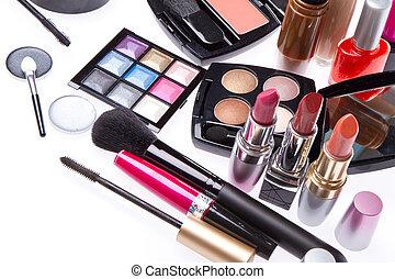 komplet, wyroby, kosmetyczny, makijaż