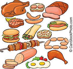 komplet, wyroby, mięso, ikona