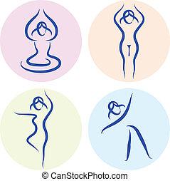 komplet, yoga, odizolowany, sylwetka, kreska, biały