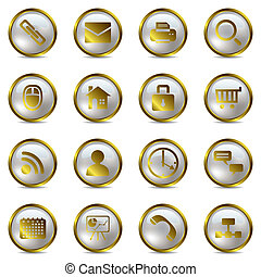 komplet, złoty, ikony