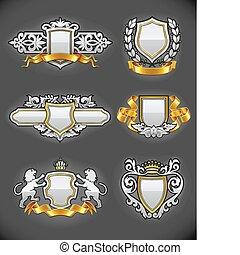 komplet, złoty, rocznik wina, heraldyczny, emblematy, srebro