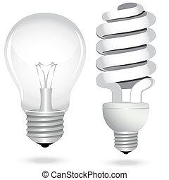 komplet, zbawczy, elektryczność, lekki, energia, lampa, bulwa