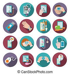 komplet, zdrowie, cyfrowy, ikony