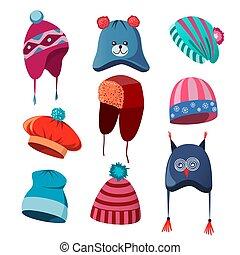 komplet, zima, jesień, kapelusze, mężczyźni, dzieci, kobiety