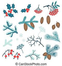 komplet, zima, stylizowany, branches., wesołe boże narodzenie