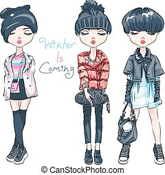 komplet, zima, wektor, dziewczyna, fason, odzież
