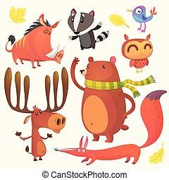 komplet, zwierzęta, rysunek, las