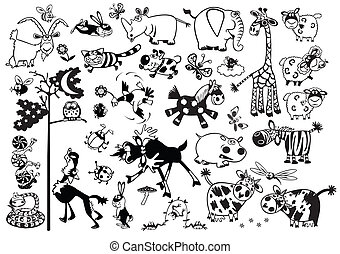 komplet, zwierzęta, rysunek