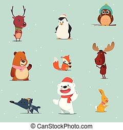 komplet, zwierzęta, zima, rysunek