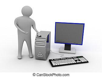 komputer, 3d, człowiek