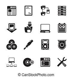 komputer, bok, urządzenie obsługujące, ikony