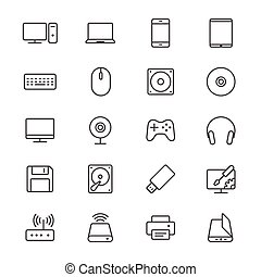 komputer, cienki, ikony