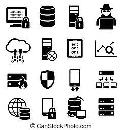komputer, dane, technologia, ikony
