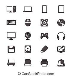 komputer, glyph, ikony