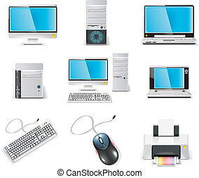 komputer, icon., wektor, biały