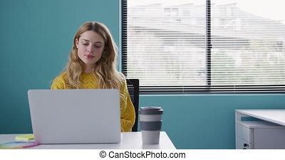 komputer, kobieta, pracujący, kaukaski