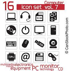 komputer, komplet, ikony