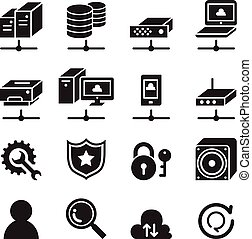komputer, komplet, sieć, ikona