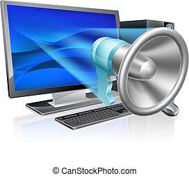 komputer, megafon, pojęcie