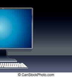 komputer, osobisty, ilustracja, desktop, wektor, pc.
