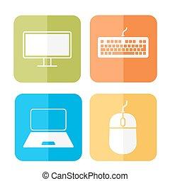 komputer, powinowaty, ikony