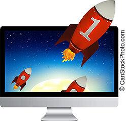 komputer, rakiety, czerwony