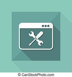 komputer, techniczne poparcie, -, wektor, ikona