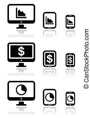 komputer, wykres, tabliczka, handlowy