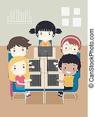 komputerowa klasa, ilustracja, dzieciaki, laptop