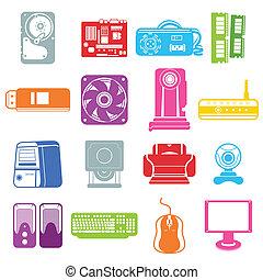 komputerowy składnik, ikony