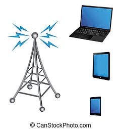 komunikacja, elektryczny, antena