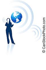 komunikacja, globalny, kobieta interesu