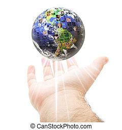 komunikacja, globalny, na cały świat, pojęcie