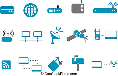 komunikacja, komplet, ikona