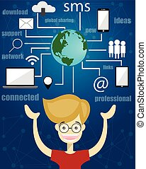 komunikacja, sieć, towarzyski