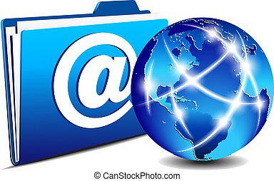 komunikacja, skoroszyt, email, kula