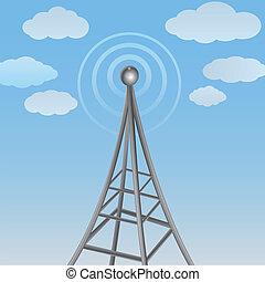 komunikacja, sygnał, wstecz, pochmurny