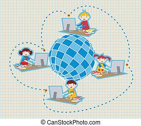 komunikacja, szkoła, globalna sieć, towarzyski